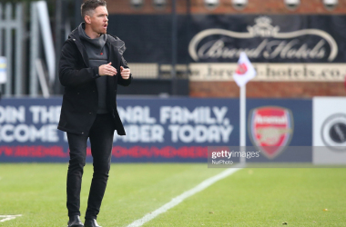 Marc Skinner manager of Birmingham City Women during Women's Super League match between Arsenal and Birmingham City Women at Boredom Wood, Boredom Wood, England on 04 Nov 2018. Credit Action Foto Sport (Photo by Action Foto Sport/NurPhoto via Getty Images)