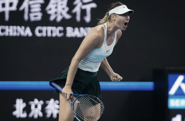 Maria Sharapova celebrates after winning a point during her hard-fought first-round win over Anastasija Sevastova at the 2017 China Open. | Photo: Jimmie48 Tennis Photography
