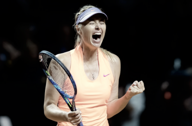 Maria Sharapova celebrates after defeating Roberta Vinci in her comeback match at the 2017 Porsche Tennis Grand Prix. | Photo: Jimmie48 Tennis Photography