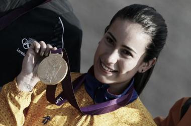 Mariana Pajón con su medalla de oro conseguida en Londres.