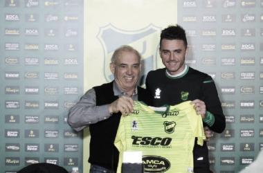 Mariano Soso junto al presidente José Lemme. Foto: Club Defensa y Justicia.