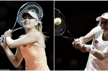 Maria Sharapova in action yesterday, and Ekaterina Makarova in action in the same arena last year | Photos: Jimmie48 Tennis Photography (Left) Dennis Grombkowski/Bongarts (Right)