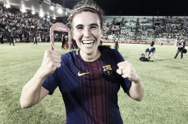 Mariona celebrando el título | Foto: @FCBFemení