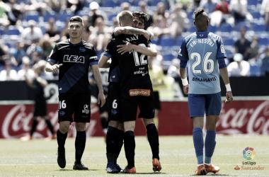 Maripán y Ely celebran la victoria en Málaga junto a Dani Torres. / Foto: LaLiga