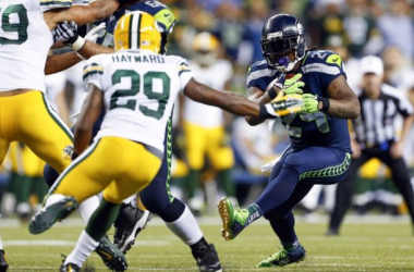 Marshawn Lynch ran for 157 yards and a touchdown in Seattle's NFC Championship victory over Green Bay. Credit: Joe Nicholson, USA Today.