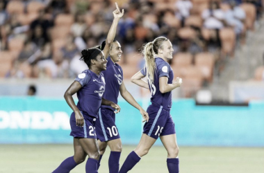 Marta (center) and company rain goals down on Houston Dash. | Source: @ORLPride