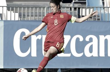 Marta Torrejón en un partido con la Selección española. / Fuente: Sefutbol.