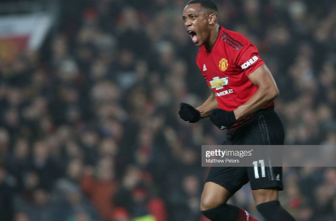 MANCHESTER, ENGLAND - DECEMBER 05: Anthony Martial of Manchester United celebrates scoring their first goal during the Premier League match between Manchester United and Arsenal FC at Old Trafford on December 5, 2018 in Manchester, United Kingdom. (Photo by Matthew Peters/Manchester United via Getty Images)