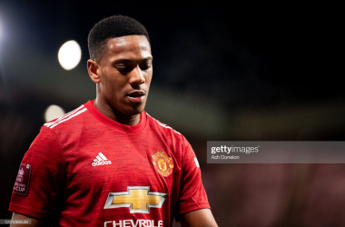 MANCHESTER, ENGLAND - FEBRUARY 09: Anthony Martial of Manchester United walks off at the end of the Emirates FA Cup Fifth Round match between Manchester United and West Ham United at Old Trafford on February 9, 2021 in Manchester, England. Sporting stadiums around the UK remain under strict restrictions due to the Coronavirus Pandemic as Government social distancing laws prohibit fans inside venues resulting in games being played behind closed doors. (Photo by Ash Donelon/Manchester United via Getty Images)