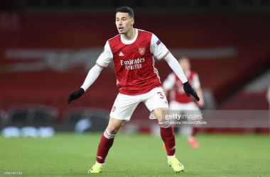 LONDON, ENGLAND - APRIL 08: Gabriel Martinelli of Arsenal during the UEFA Europa League Quarter Final First Leg match between Arsenal FC and Slavia Praha at Emirates Stadium on April 8, 2021 in London, United Kingdom. Sporting stadiums around Europe remain under strict restrictions due to the Coronavirus Pandemic as Government social distancing laws prohibit fans inside venues resulting in games being played behind closed doors. (Photo by Charlotte Wilson/Offside/Offside via Getty Images)