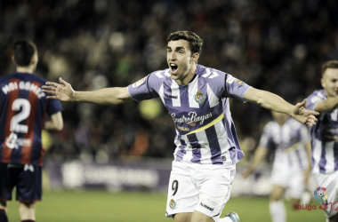 Jaime Mata celebrando un gol ante el Huesca. Fotografía: La Liga 123