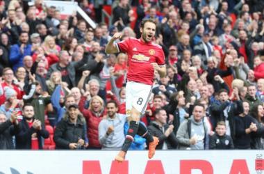 Premier League - Mata esulta dopo il gol dell'1-0 - Foto MUFC Twitter