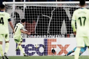 Mata iguala de penalti en el duelo ante el Basilea. Fuente: Getafe CF