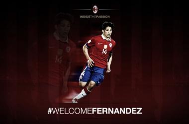 Así anunciaba el Milan la llegada de Matías Fernández. | Foto: AC Milan