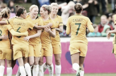 Westfield Matildas celebrate a goal| Source: Westfield Matildas Twitter @TheMatildas