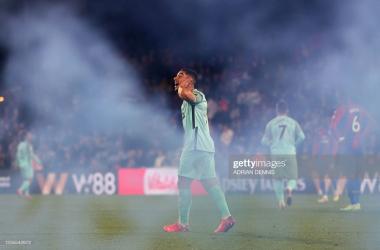 A cloud of smoke reveals a euphoric Maupay
