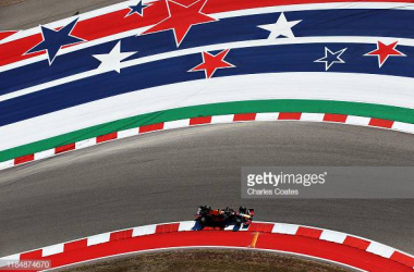 Max Verstappen of the Netherlands driving the Red Bull on track during practice for the F1 Grand Prix of USA (Photo credit: Charles Coates, Getty Images)