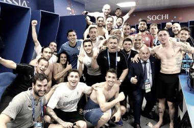 La selección charrúa celebra en el vestuario su pase a cuartos | Fuente: RC Celta