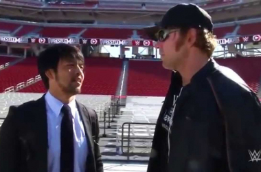 Hideo Itami and Dean Ambrose.   Photo credit: WWE