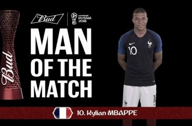 Mbappe seleccionadocomoel mejor jugador del partido. |Fuente: FIFA.tv
