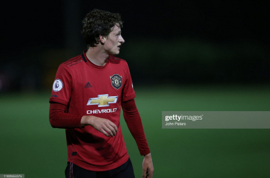 SWANSEA, WALES - OCTOBER 21: Max Taylor of Manchester United U23s in action during the Premier League 2 match between Swansea City U23s and Manchester United U23s at Landore Training Ground on October 21, 2019 in Swansea, Wales. (Photo by John Peters/Manchester United via Getty Images)