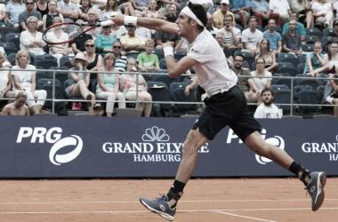 Mayer durante el encuentro de hoy. Foto: ATP