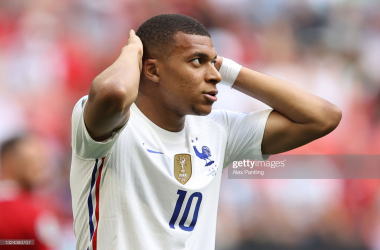 Kylian Mbappe of France reacts during the UEFA Euro 2020 Championship Group F match between Hungary and France at Puskas Arena on June 19, 2021 in Budapest, Hungary. (Photo by Alex Pantling/Getty Images