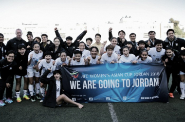 Tailandesas comemoram 16ª participação na Copa da Ásia Feminina (Foto: Divulgação/Palestinian Football Association)