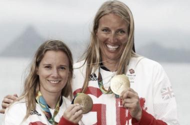 Mills and Clark celebrate winning sailing gold Pic: PA