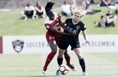 McCall Zerboni (right) scored the first goal in Courage history against the Washington Spirit. | Source: @ExcelleSports