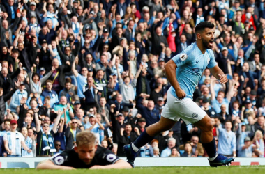 Sergio Aguero wheels away in celebration as he gives Man City the lead | Photo: PremierLeauge.com