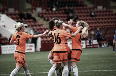 Glasgow City celebrates Lauren McMurchie's opening goal. Photo: Andy Buist