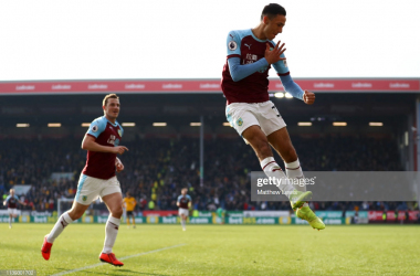 Dwight McNeil celebrating his goal against Wolves via Getty Images