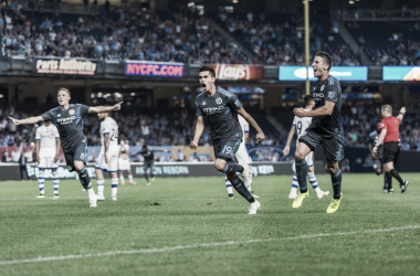 NYCFC celebrating Jesus Medina's goal midweek. | Photo: New York City FC