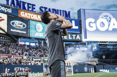 Jesus Medina celebrating the opening goal. | Photo: New York City FC