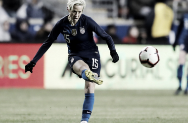 Megan Rapinoe scored the opening goal in USWNT match against Japan. (Photo by Elsa/Getty Images)