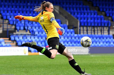 Megan Walsh playing for Yeovil Town Ladies in the WSL at Prenton Park, against Liverpool Last season. Image courtesy of Nick Taylor from Liverpool FC on Getty images.