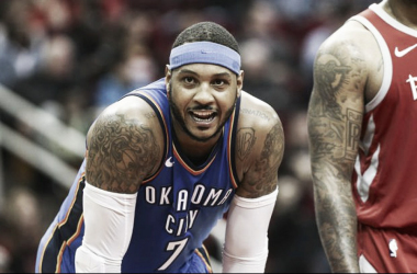 Carmelo Anthony is finally going to don the red and white in Houston. Photo Credit: Troy Taormina/USA TODAY Sports