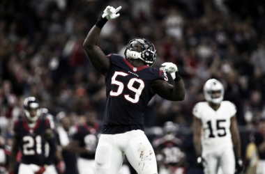 Whitney Mercilus (59) of the Houston Texans played great against the Oakland Raiders, getting to Connor Cook often and effectively. He will have to do much of the same and more against Tom Brady to try throwing him off his game at least a little. Photo Cr
