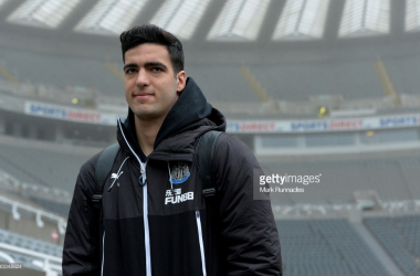 Mikel Merino arriving at St James' Park