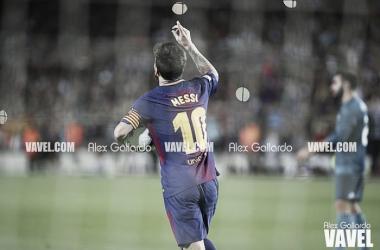 Leo Messi celebrando un gol esta temporada | Foto: Alex Gallardo, VAVEL