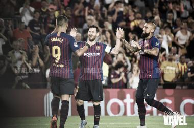 Foto de archivo de Leo Messi celebrando un gol. junto a Luis Suárez y Vidal FOTO: Noelia Déniz