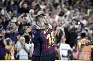 Imagen de archivo de Messi y Jordi Alba. FOTO: Tomás Rubia