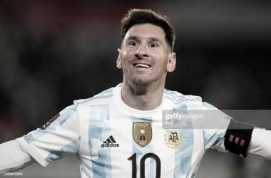 EMOCIONADO. Messi, en una nueva etapa la esta viviendo como nunca y se lo notó feliz tras la goleada. Foto: Getty images