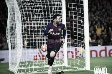Leo Messi celebrando su gol contra el Liverpool. FOTO: Noelia Déniz