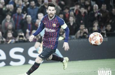 Messi jugando contra el Olympique de Lyon. FOTO: Noelia Déniz