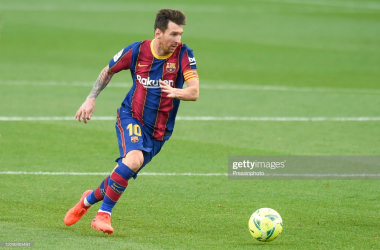 Lionel Messi of FC Barcelona during the La Liga match between FC Barcelona and Real Madrid played at Camp Nou Stadium on October 24, 2020 in Barcelona, Spain. (Photo by Pressinphoto/Icon Sport via Getty Images)