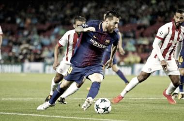 Messi contra el Olympiacos en la ida. Foto: FC Barcelona