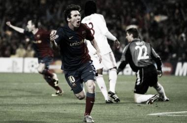 Foto: Messi celebra su primer tanto de la noche | El País