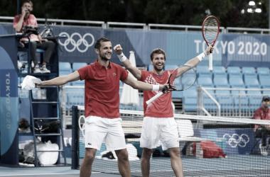 Metkic y Pavic celebrando el oro olímpico en Tokio. (Fuente: Olympics)